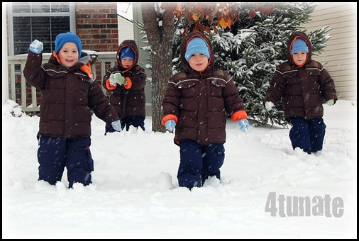 snowball fight with boys