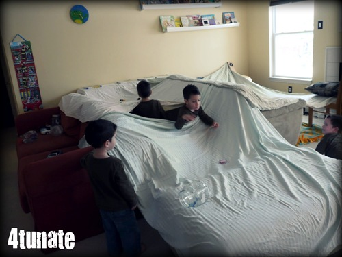 building a fort with sheets