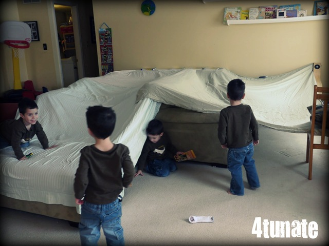 Fun For A Buck Building Fort Inside With Sheets