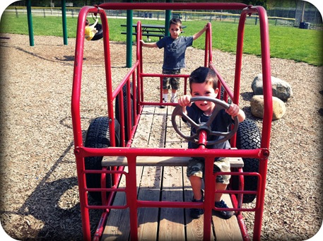 preschoolers playing at the playground