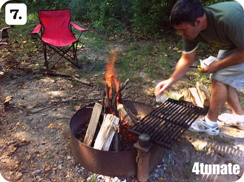 camping with kids building a camp fire