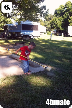 camping with kids cleaning up