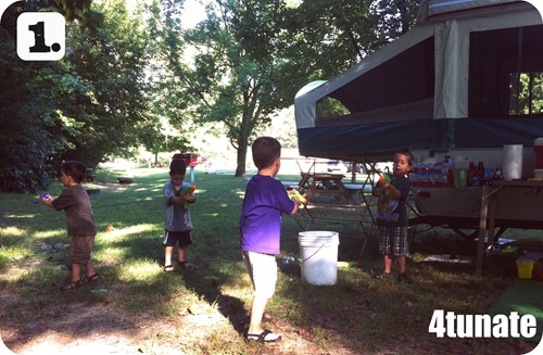 camping with kids water fights