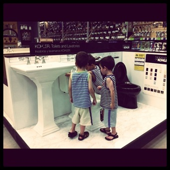 inspecting toilets at Lowes