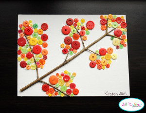 fall button tree crafts for kids