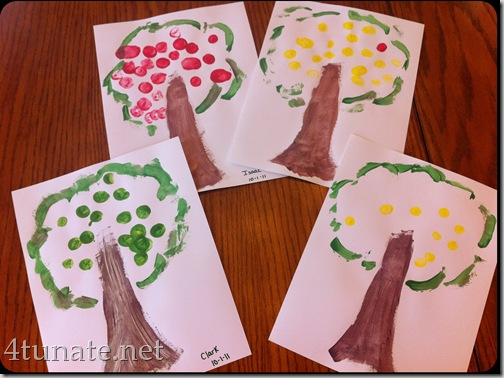 marshmallow print apple trees painting craft