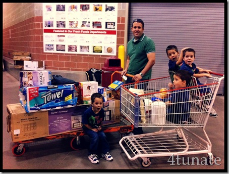 shopping at costco with a large family