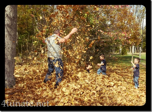 throwing leaves in air