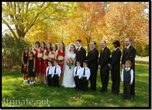 wedding party pictures with gorgeous fall trees
