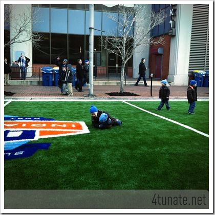 Playing on the Field at Super Bowl Village Indianapolis