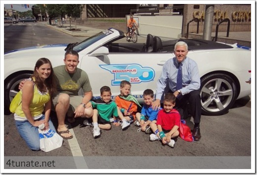 mike pence indiana may 500 festival with quadruplets