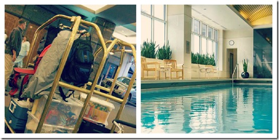 embassy suites hotel ammenities and pool collage