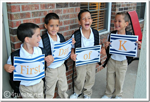 1st day of kindergarten for quadruplets