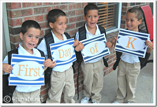 first day of kindergarten 2012 signs