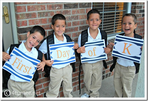 first day of school kindergarten printable signs