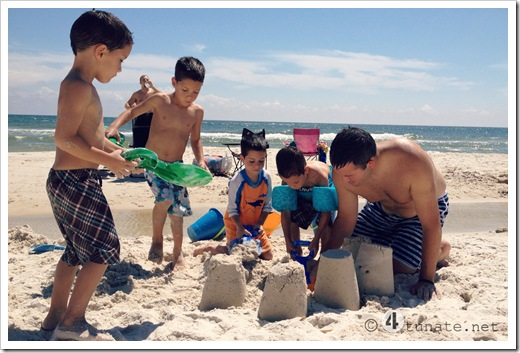 building sand castle with kids gulf shores alabama