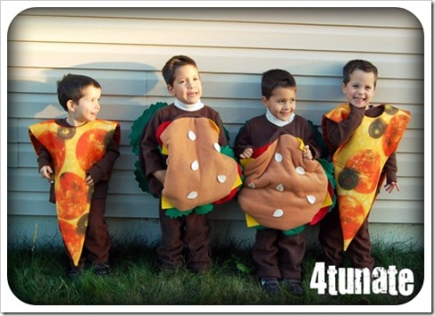 little heart attacks pizza and cheeseburger costumes