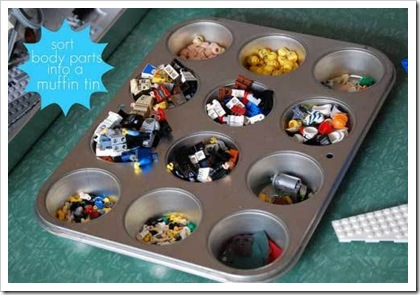 lego storage minifigure pieces in muffin tin