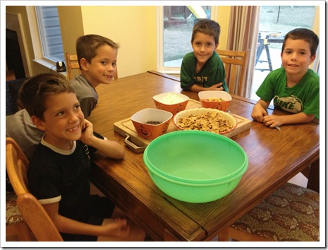 making halloween snack mix with kids