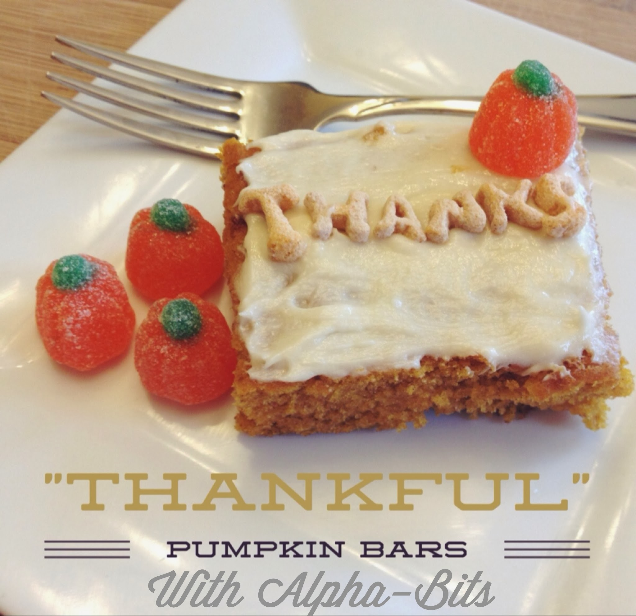 """""""Thankful"""" Pumpkin Bars With Alpha-Bits Cereal"""