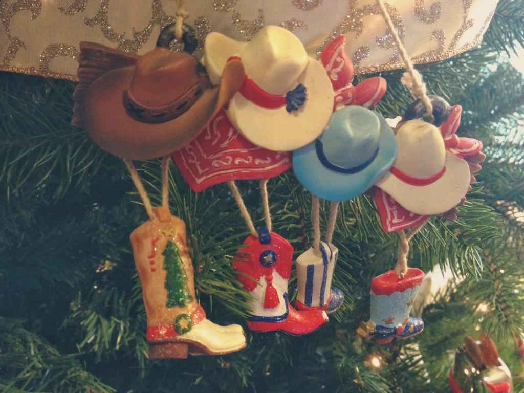 four cowboy christmas ornament