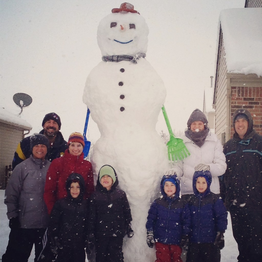 ten foot snowman built by kids